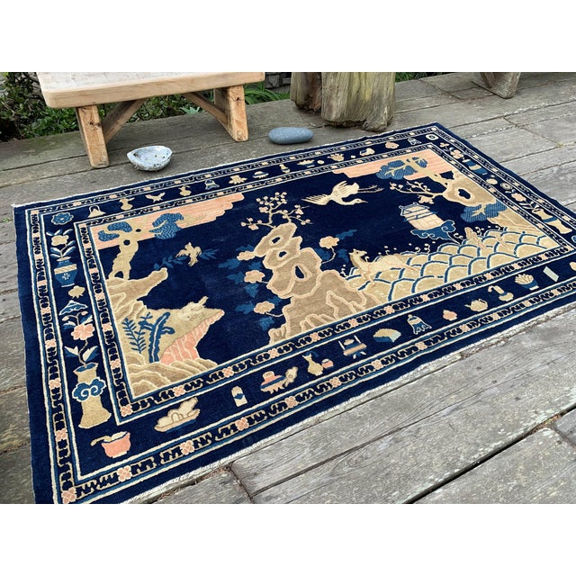 Art Deco Antique 1910s Blue Chinese Pictorial Rug- 5′ × 8′ For Sale - Image 3 of 13