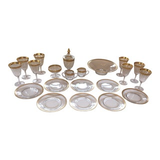 Tiffin Franciscan Minton Gold Encrusted Glassware - 21 Pc. Set For Sale