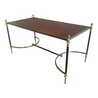 French 1940s Brushed Metal and Brass Coffee Table by Maison Jansen