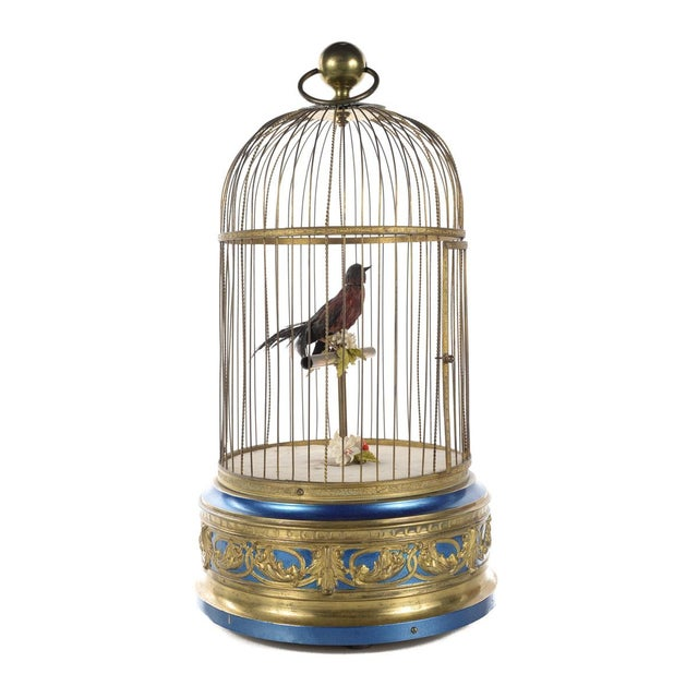 Gold German Mechanical Birdcage Automaton Music Box For Sale - Image 8 of 9