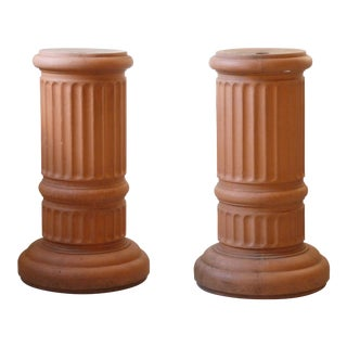 Late 20th Century Vintage French Terra Cotta Reeded Pedestals- a Pair For Sale