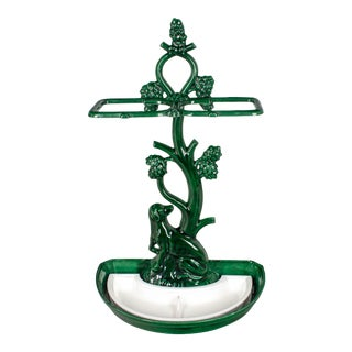 French Mid Century Enameled Iron Umbrella Stand For Sale