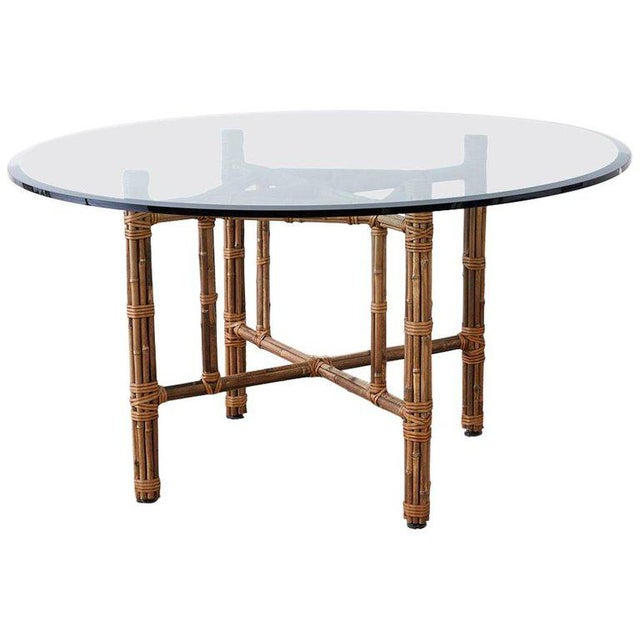 McGuire Organic Modern Bamboo Rattan Round Dining Table For Sale - Image 13 of 13
