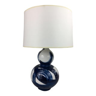 Jana Bek Blue and White Ceramic Lamp For Sale