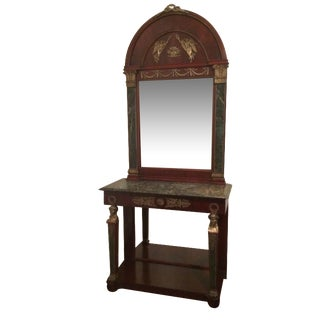 French Empire Console Table and Mirror For Sale