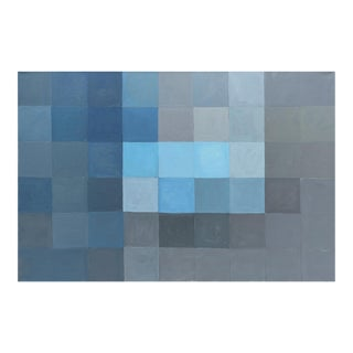 Modern Blue Grid Painting by Meryl Blinder