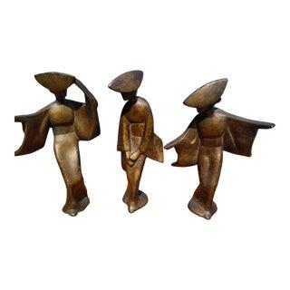 Mid Century Modern Iron Geisha Dancer Figurines - Set of 3 For Sale