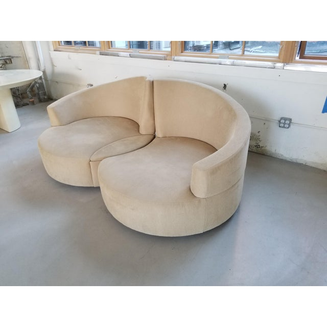 Vladimir Kagan 2 Piece Swivel Loveseat - Image 3 of 6