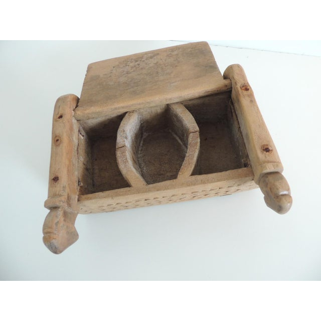 1950s Vintage Indian Market Hand Carved Wooden Box With Lid and Carving Details For Sale - Image 5 of 6