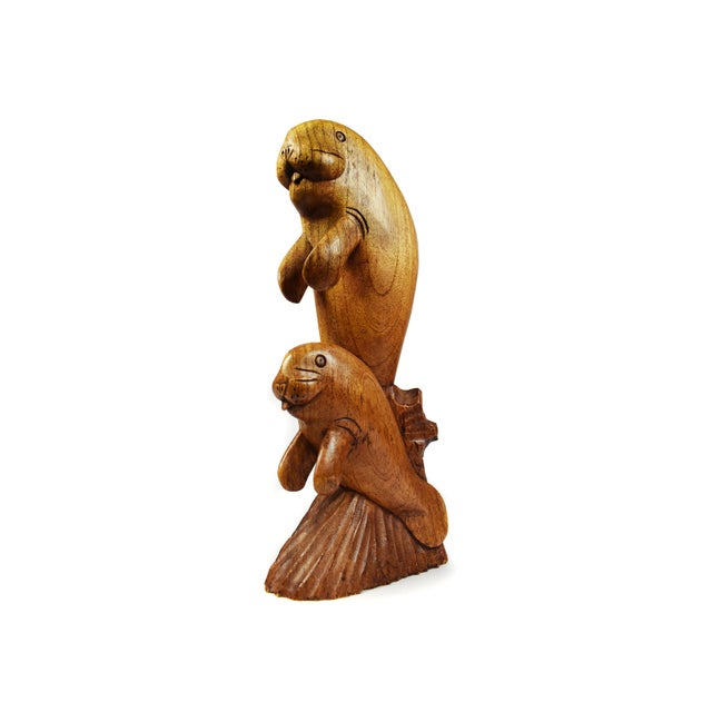 Wood Hand Carved Wooden Sealion Seal Sea Animal Figurine For Sale - Image 7 of 7
