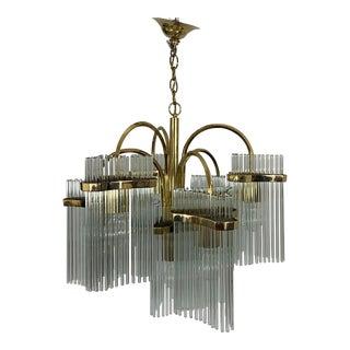 Sciolari Glass Rod Brass Chandelier For Sale
