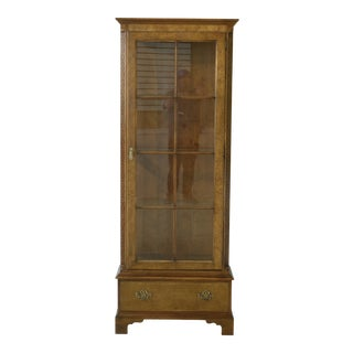 Baker 1 Door Walnut Lighted Curio Display Cabinet For Sale