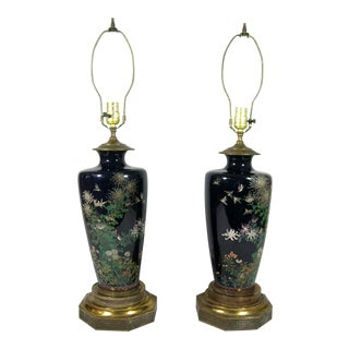19th Century Japanese Cloisonne Vases Mounted as Lamps For Sale