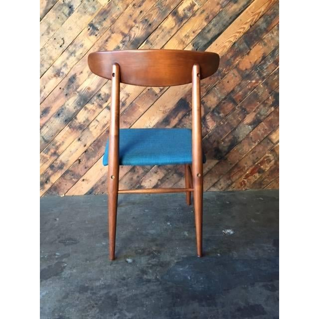 Mid Century Refinished Reupholstered Walnut Dining Desk Chair - Image 4 of 6