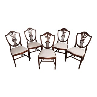 Gorgeous Hepplewhite Style Mahogany Shield Back Dining Chairs New Upholstery-Set of 5 For Sale