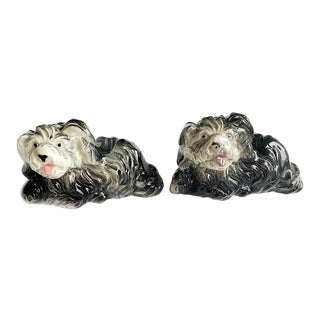 Ceramic Black and White Dog Salt and Pepper Shakers - a Pair For Sale