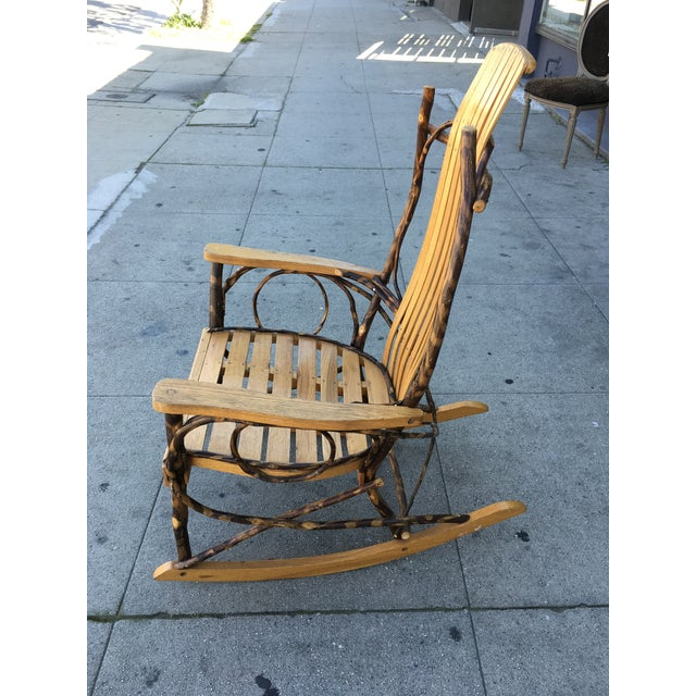 Late 20th Century Rustic Adirondack Oak and Hickory Twig Rocking Chair For Sale - Image 4 of 11