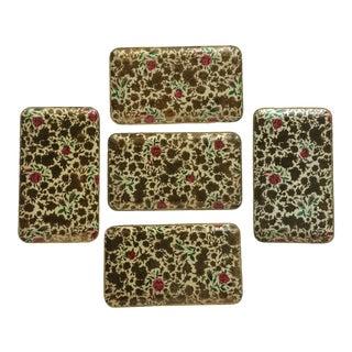 Vintage Floral Design Snack Trays Made in Japan - Set of 5 For Sale