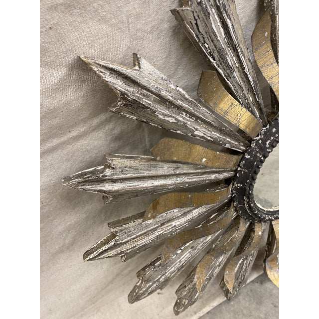 Sunburst Wood and Metal Wall Mirror For Sale In Austin - Image 6 of 9