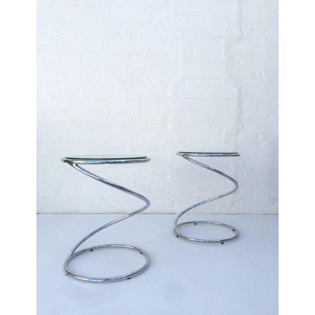 Polished Chrome and Glass Spiral Occasional Tables by Leon Rosen for Pace - Image 5 of 7