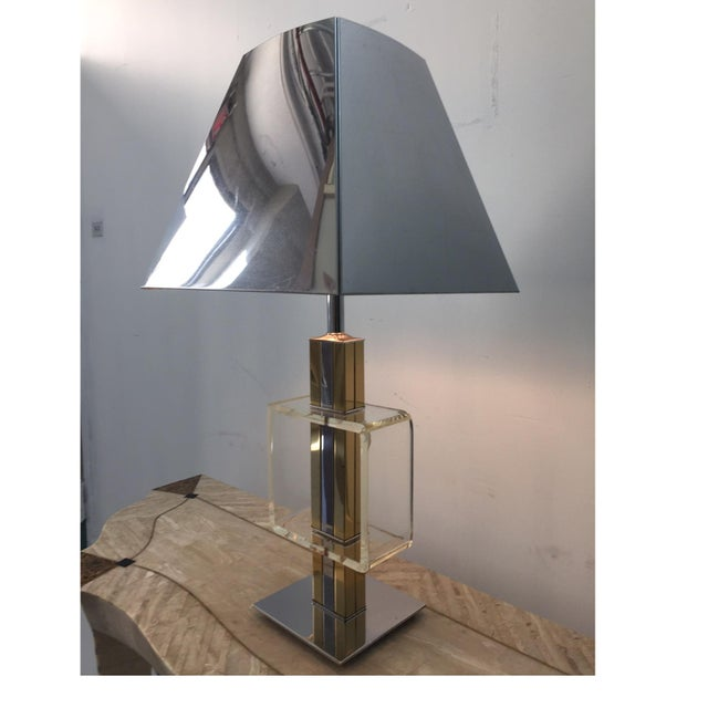 Charles Hollis Jones Brass Chrome & Lucite Lamp - Image 2 of 4