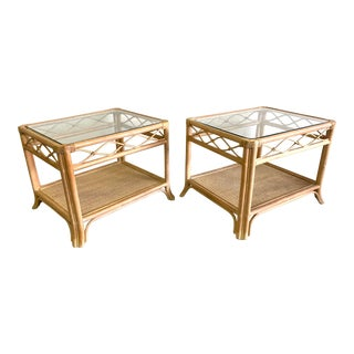 Rattan and Glass End Tables, a Pair For Sale