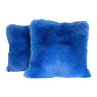 Blue Fox Pillows With Italian Cashmere - a Pair For Sale