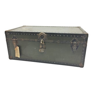 Vintage Industrial Green Military Foot Locker Trunk For Sale