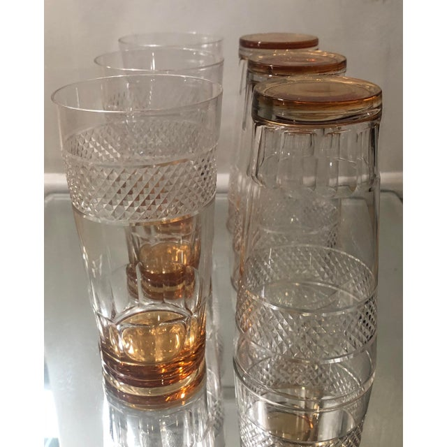 Art Deco Set of 6 Art Deco Antique Hawkes Amber Cut Crystal Highballs For Sale - Image 3 of 6
