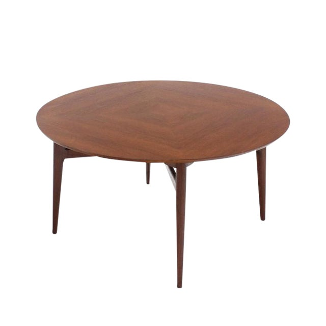 Wood Vintage Mid Century Danish Modern Teak Round Game Table For Sale - Image 7 of 7