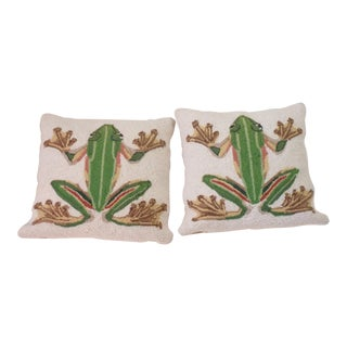 Gros Point Pillows With Frogs - A Pair