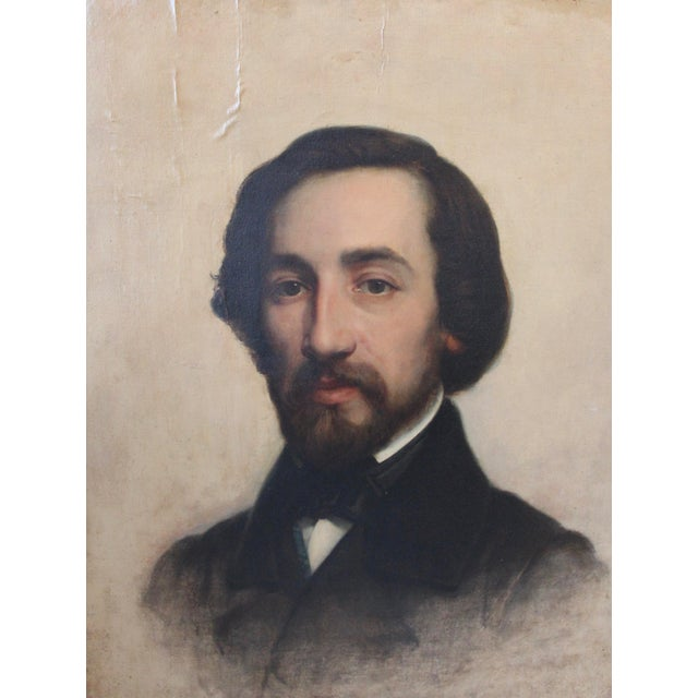 French Alfred De Musset Portrait Painting For Sale - Image 3 of 8