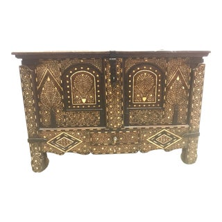 20th Century Syrian Inlay Money Chest For Sale