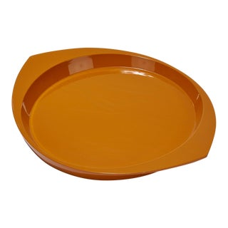 1950s Very Large Danish Modern Orange Lacquered Tray by Dansk For Sale