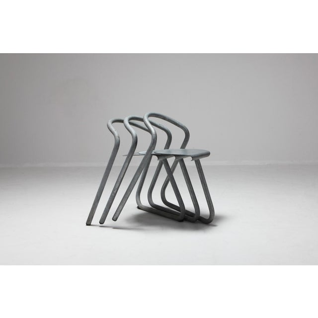 Danish Stackable Chairs in Galvanized Steel by Erik Magnussen For Sale - Image 9 of 12