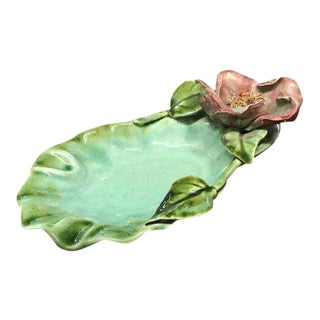 French Majolica Porcelain Leaf and Floral Motif Candy Dish, 1920