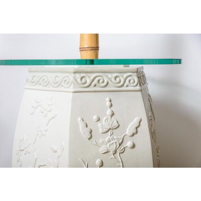 White Custom White Garden Stool & Bamboo Floor Lamps - A Pair For Sale - Image 8 of 11