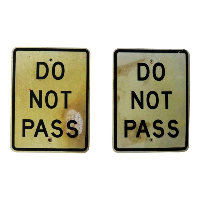 Image of Vintage Do Not Pass Metal Traffic Signs