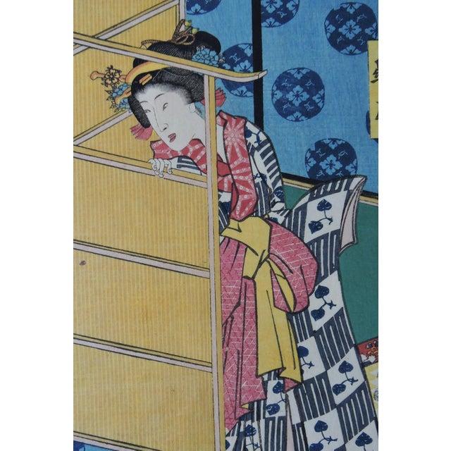 Antique Japanese Ukiyo-E Woodblock Triptych of Prince Genji by Utagawa Kunisada 1786-1865 For Sale - Image 9 of 11