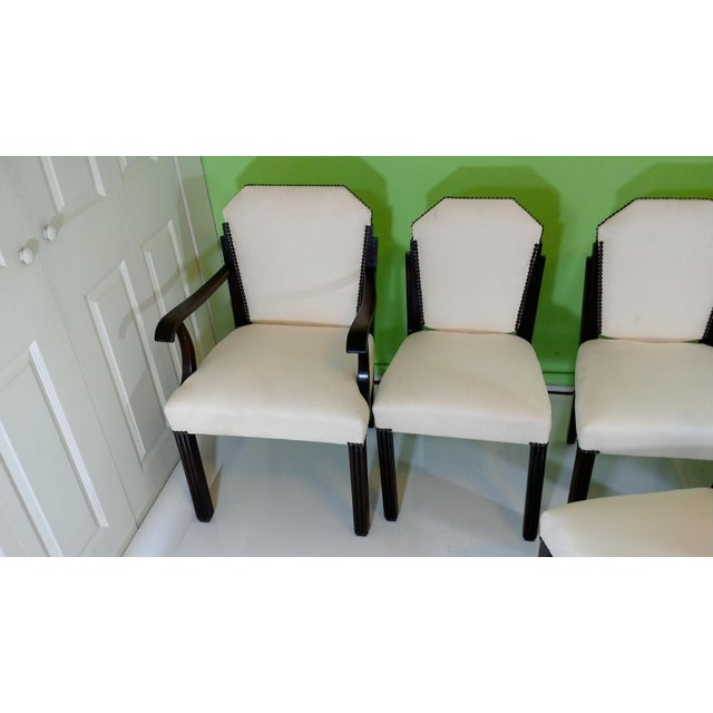 White Suede Deco Dining Chairs - Set of 8 - Image 10 of 11