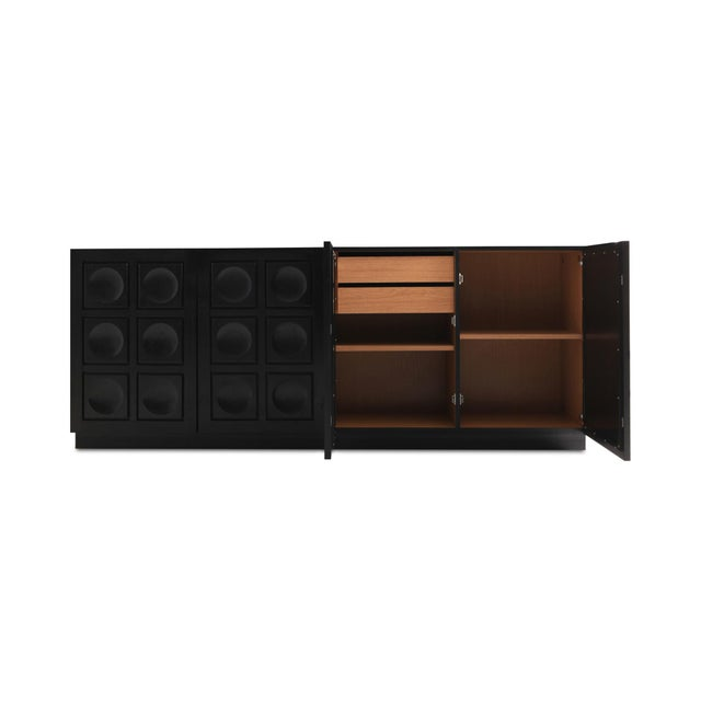 1970s Brutalist Ebonized Oak Credenza With Geometrical Doors For Sale - Image 5 of 10