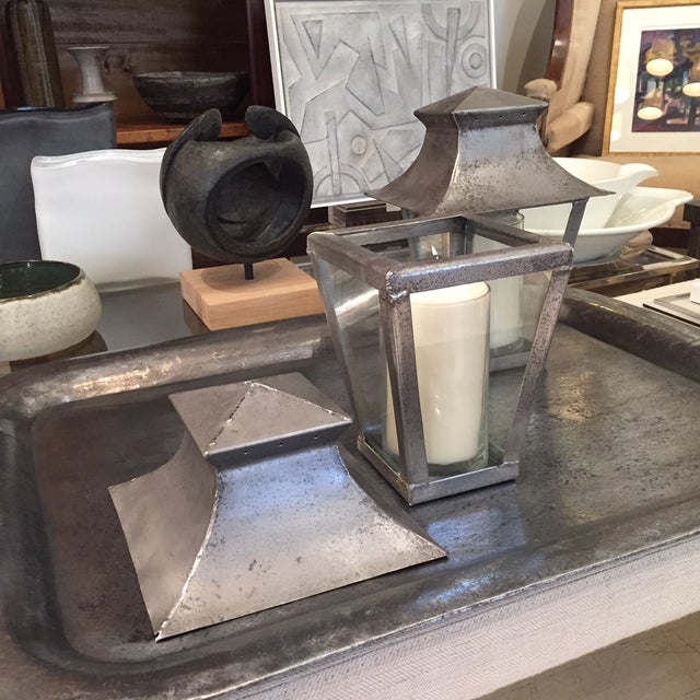 Late 20th Century Petite 20th Century French Steel Candle Lanterns - a Pair For Sale - Image 5 of 6