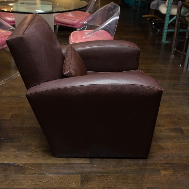 Holly Hunt Brown Leather Swivel Chairs - Image 6 of 11