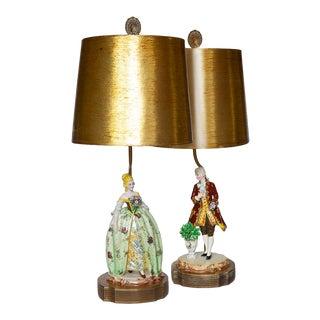 1950s Dresden Romantic Couple Lamps - a Pair For Sale