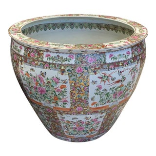 "Asian Antique Famille Rose Palace Fish Bowl 31"" For Sale"