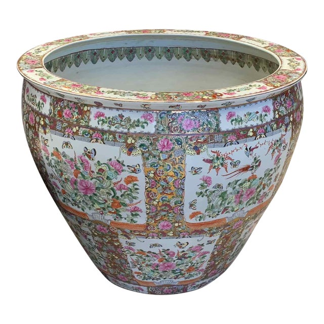 """Asian Antique Famille Rose Palace Fish Bowl 31"""" For Sale"""