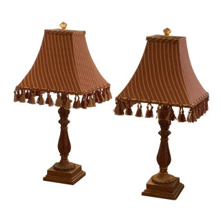 Gold & Red Lamps With Shades - A Pair For Sale