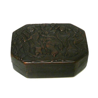 Chinese Handmade Bronze Colored Metal Trinket Box For Sale