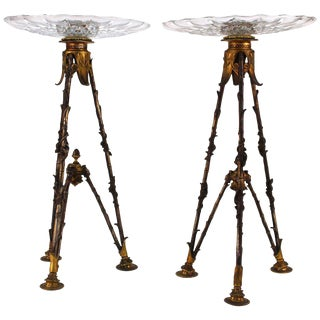 Antique Victorian French Pastry Holders on Tripod Bronze Bases and Val St. Lambert Glass - a Pair For Sale