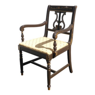 Vintage Hitchcock Style Black Stenciled Chair French Country For Sale